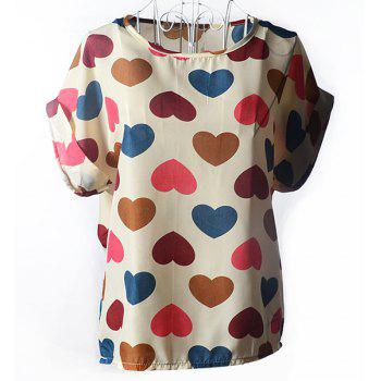 Stylish Short Sleeve Scoop Collar Heart Print Chiffon Women's Blouse - OFF-WHITE OFF WHITE