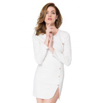 Solid Color Long Sleeve Round Collar Buttons Design Packet Buttock Dress - WHITE M