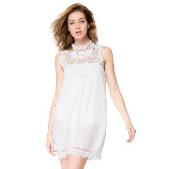Simple Turtle Neck Sleeveless Spliced Loose-Fitting Solid Color Women's Dress - WHITE S