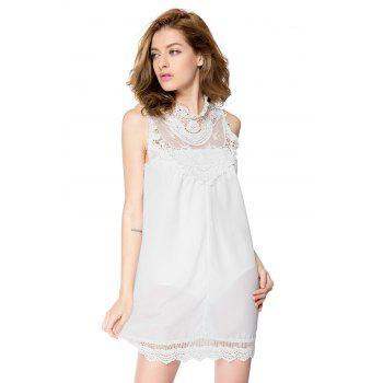 Simple Turtle Neck Sleeveless Spliced Loose-Fitting Solid Color Women's Dress - WHITE WHITE