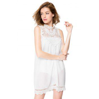 Simple Turtle Neck Sleeveless Spliced Loose-Fitting Solid Color Women's Dress - WHITE L