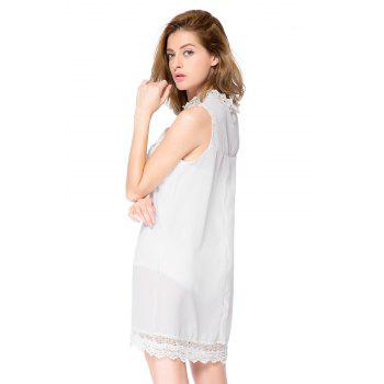 Simple col roulé manches Spliced ​​amples massif robe de couleur femme - Blanc L
