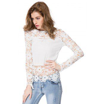 Stylish Round Neck Long Sleeve Hollow Out Spliced Women's Blouse - XL XL