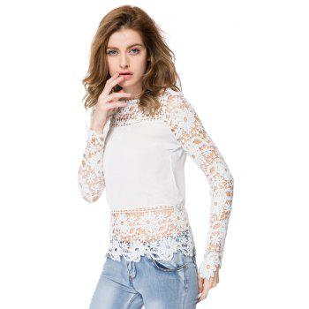 Stylish Round Neck Long Sleeve Hollow Out Spliced Women's Blouse