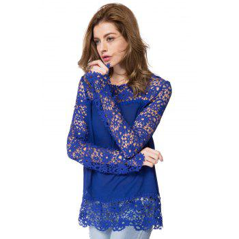 Stylish Round Neck Long Sleeve Hollow Out Spliced Women's Blouse - SAPPHIRE BLUE SAPPHIRE BLUE
