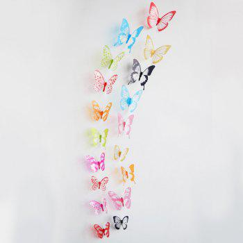 18pcs DIY 3D Chromatic Butterfly Wall Sticker Art Decal for Living Room Kitchen