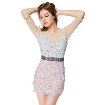 Trendy Style Round Collar 3/4 Sleeve Crochet Flower Splicing Slimming Women's Dress - COLORMIX COLORMIX