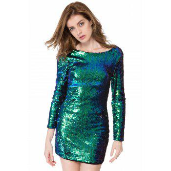 Short Glitter Sequin Club Dress with Sleeves - GREEN S