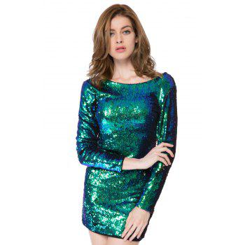 Short Glitter Sequin Club Dress with Sleeves - GREEN M