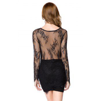 Sexy Style Long Sleeve Plunging Neck Solid Color Women's Lace Dress - BLACK BLACK