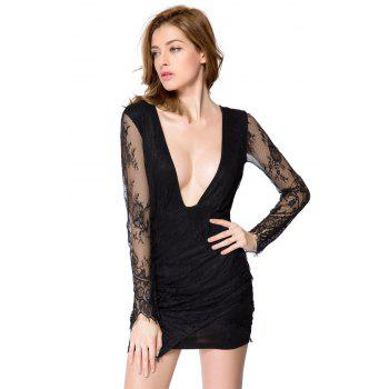 Sexy Style Long Sleeve Plunging Neck Solid Color Women's Lace Dress