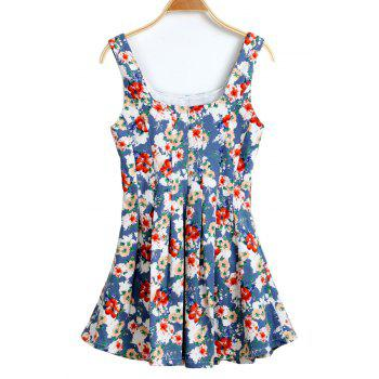 Casual Style U-Neck Floral Print Ruffle Sleeveless Dress For Women - LIGHT BLUE LIGHT BLUE