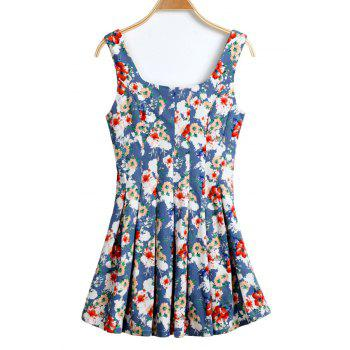 Casual Style U-Neck Floral Print Ruffle Sleeveless Dress For Women - XL XL