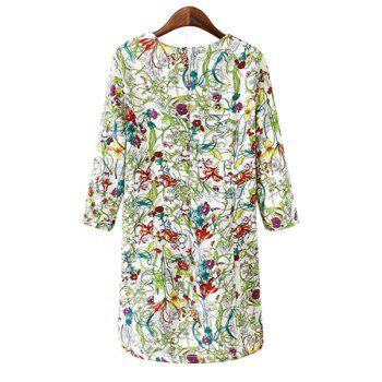 Stylish Scoop Neck 3/4 Sleeve Floral Print Women's Dress - S S