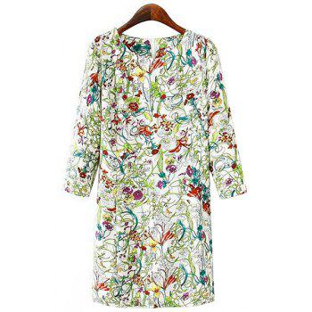Stylish Scoop Neck 3/4 Sleeve Floral Print Women's Dress - CELADON S