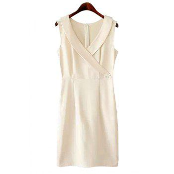 Elegant Style V-Neck Solid Color Slit Sleeveless Dress For Women