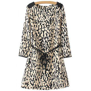 Fashionable Scoop Neck Leopard Pattern Tie-Up Back Zipper Long Sleeve Dress For Women