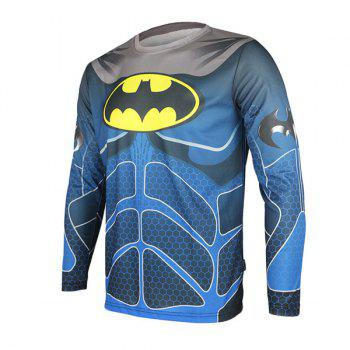 Arsuxeo Batman Style Thermal Transfer Cycling Jersey Bike Bicycle Running Long Sleeve Clothes for Male - BLUE BLUE