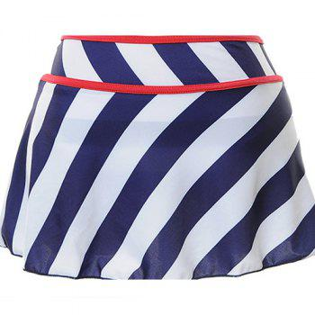 Alluring Halter Striped Bowknot Embellished Three-Piece Women's Swimsuit - M M