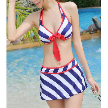 Alluring Halter Striped Bowknot Embellished Three-Piece Women's Swimsuit - BLUE BLUE