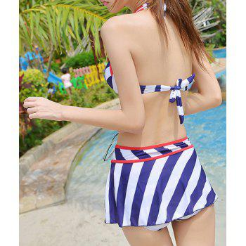 Alluring Halter Striped Bowknot Embellished Three-Piece Women's Swimsuit - 2XL 2XL