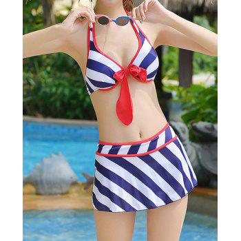 Alluring Halter Striped Bowknot Embellished Three-Piece Women's Swimsuit - 3XL 3XL