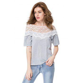 Loose Hollow Out Design Lace Splicing 1/2 Sleeve Slash Neck Fringe Embellished T-Shirt