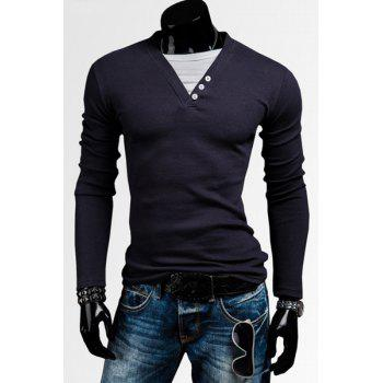 Classic Faux Twinset V-Neck Button Embellished Color Block Long Sleeves Men's T-Shirt