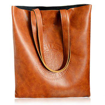 Retro Style Solid Color and Embossing Design Shoulder Bag For Women