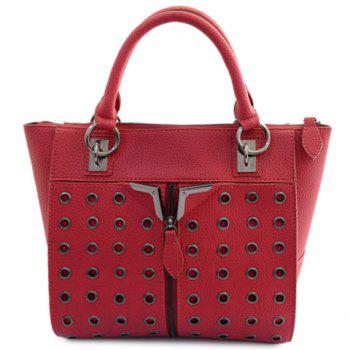 Punk Style Rivets and Zip Design Tote Bag For Women