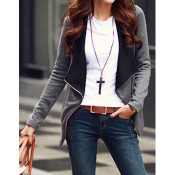 Color Splicing Long Sleeves Zippered Jacket For Women