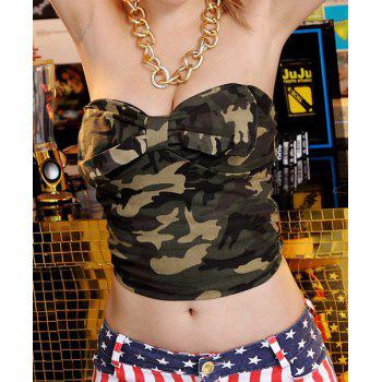 Alluring Camouflage Bowknot Decorated Dancewear For Women - GREEN ONE SIZE(FIT SIZE XS TO M)