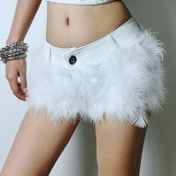 Sexy Faux Fur Spliced Slimming Shorts For Women