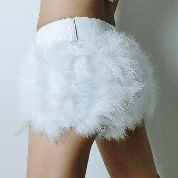 Sexy Faux Fur Spliced Slimming Shorts For Women - WHITE S