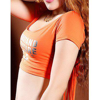 Sexy Scoop Neck Short Sleeve Lace-Up Backless Women's Dancewear - ORANGE ONE SIZE(FIT SIZE XS TO M)