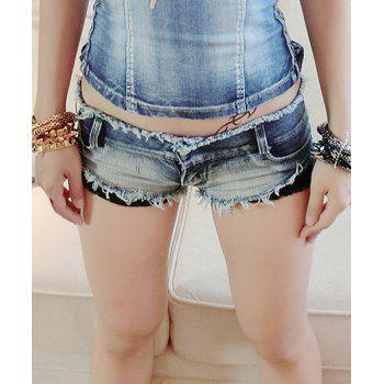 Sexy Lace Splicing Bleach Wash Denim Shorts For Women