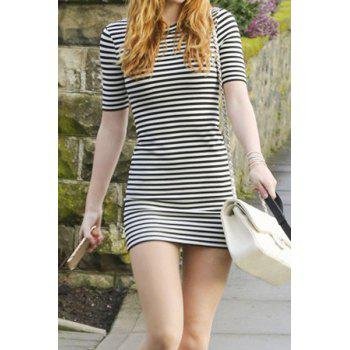 Trendy Women's 1/2 Sleeve Round Neck Striped Dress