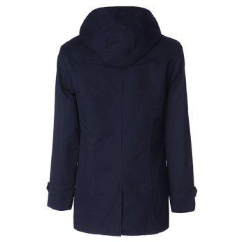 Fashion Large Hooded Slimming Solid Color Pocket Embellished Long Sleeves Men's Coat - CADETBLUE CADETBLUE