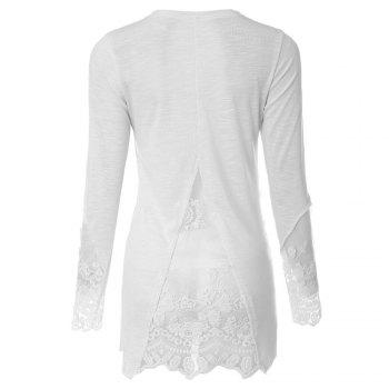 Stylish Scoop Collar Long Sleeve See-Through Solid Color Women's T-Shirt - WHITE XL
