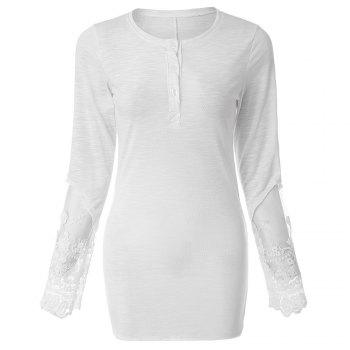 Scoop Collar Long Sleeve Solid Color See Through T Shirt