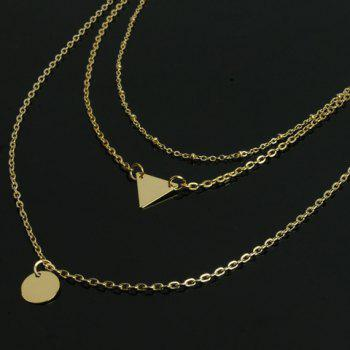 Triangle Disc Pendant Layered Necklace - GOLDEN