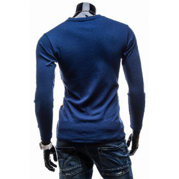 Classic Color Splicing V-Neck Slimming Long Sleeves Men's Cotton Blend T-Shirt - YELLOW 2XL
