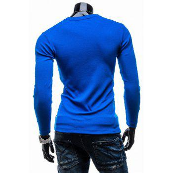 Classic Color Splicing V-Neck Slimming Long Sleeves Men's Cotton Blend T-Shirt - SAPPHIRE BLUE SAPPHIRE BLUE