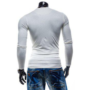 Laconic Personality Color Block V-Neck Slimming Long Sleeves Men's Cotton Blend T-Shirt - WHITE 2XL
