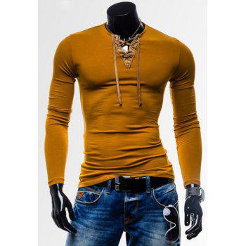 Laconic Personality Color Block V-Neck Slimming Long Sleeves Men's Cotton Blend T-Shirt - YELLOW YELLOW
