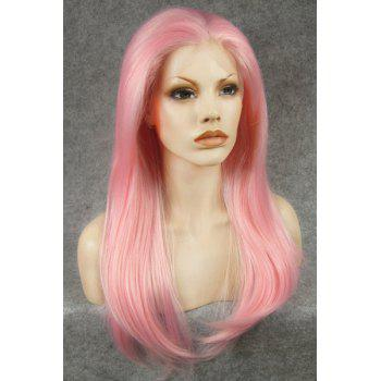 Trendy Stunning Long Straight Slightly Curled Pink Heat Resistant Synthetic Women's Wig -