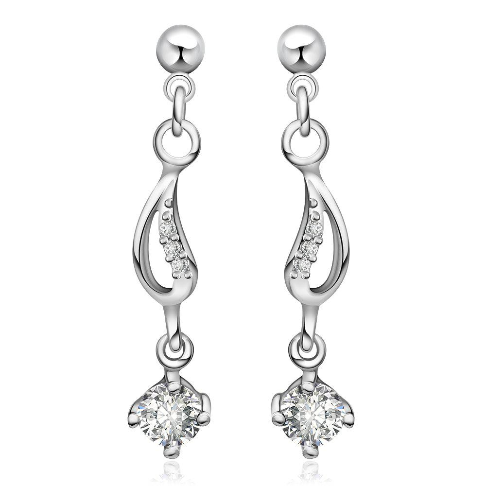 Pair of Delicate Cute Women's Rhinestone Inlaid Openwork Drop Earrings - WHITE