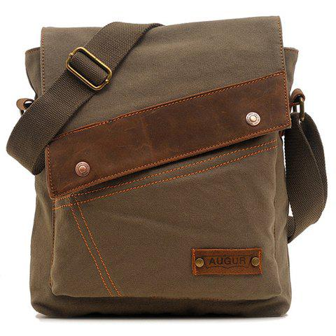 Fashionable Rivets and Stitching Design Messenger Bag For Men - ARMY GREEN