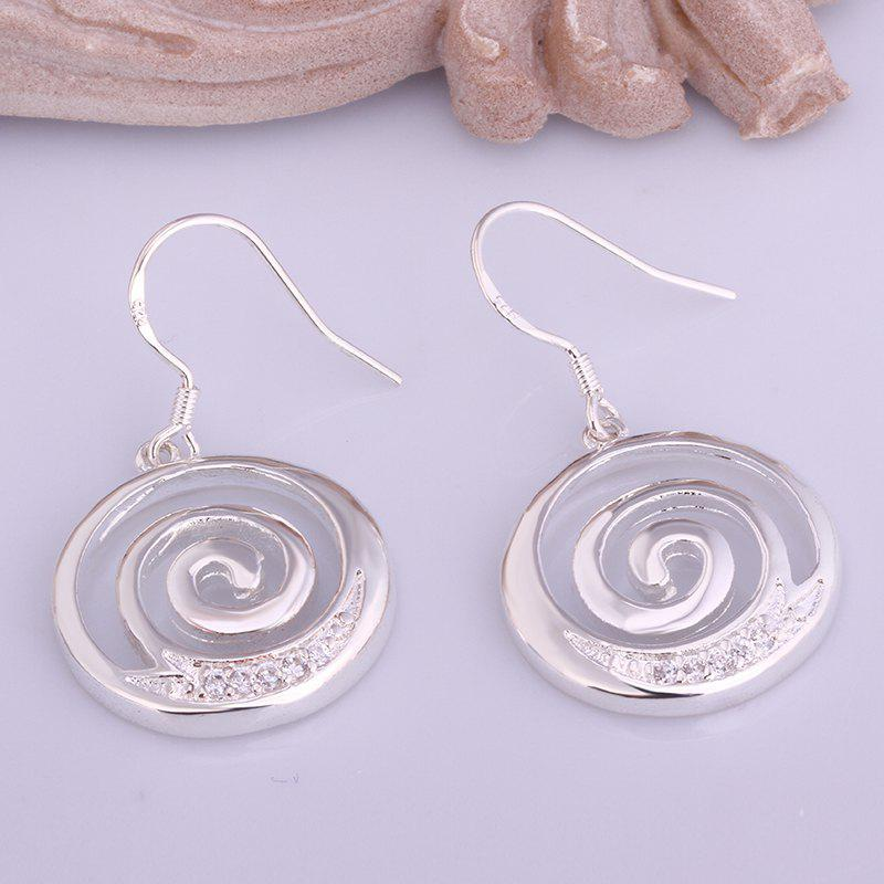 Pair of Stylish Chic Women's Rhinestone Inlaid Circle Shape Earrings - SILVER