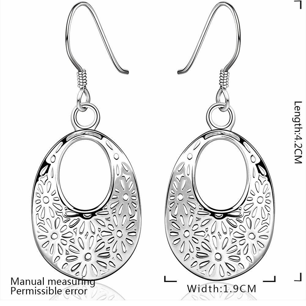 Filagree Flower Ellipse Pendant Earrings - SILVER